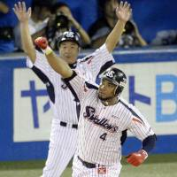 Hold that thought: Wladimir Balentien celebrates joining Sadaharu Oh, Tuffy Rhodes and Alex Cabrera with his record-tying 55th home run of the season on Wednesday. | KYODO