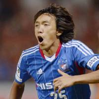Old hand: Shunsuke Nakamura celebrates scoring in Yokohama F. Marinos' 1-0 win over Shimizu S-Pulse on Saturday. | KYODO