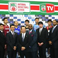 Are you ready?: Players and coaches of NBL teams promote the launch of the league's inaugural season in Tokyo on Sunday. | KAZ NAGATSUKA