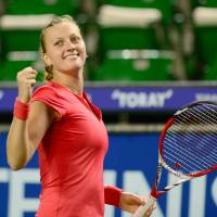 All smiles: Petra Kvitova  reacts after her 3-6, 6-3, 7-6 (7-2) victory over Venus Williams in the semifinals of the Pan Pacific Open on Friday. | AFP-JIJI