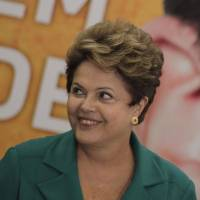 On the attack: Brazilian President Dilma Rousseff attends a ceremony in Brasilia on Monday. The same day she again demanded answers from Washington after a new report claimed the U.S. National Security Agency spied on oil giant Petrobras. | AP
