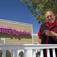 Smoke 'em if ya got 'em: Moonlite Bunny Ranch owner Dennis Hof stands outside the brothel in Mound House, Nevada, last month. | BLOOMBERG