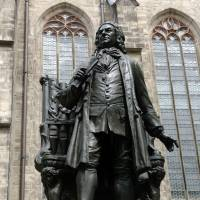 Looming: A statue of Johann Sebastian Bach stands at St. Thomas Church in Leipzig, Germany, where Bach is buried and was choirmaster for 27 years. | BLOOMBERG