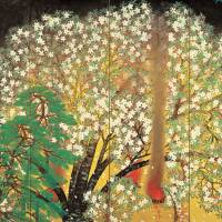 Blossoming nihonga: Taikan Yokoyama's 'Cherry Blossoms at Night' (left screen, 1929) will be on display at the Yokohama Museum of Art from Nov.1-24. | OKURA MUSEUM OF ART