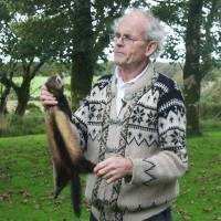Off the road: Self-proclaimed 'roadkill connoisseur' Arthur Boyt with a dead polecat at his home in Davidstow in Cornwall, Southwest England. | AFP-JIJI
