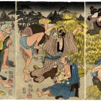 For sake's sake: This triptych by Utagawa Kuniyoshi (1797-1861), one of the last great masters of the ukiyo-e style of woodblock print-making, shows a group of foxes that have shape-shifted to look like humans and are having a wild party under cover of darkness. As they get increasingly drunk, though, one of them can't hold its human shape, while another gets back its fox's brush. In the days before there was street lighting, people commonly imagined such mystic animals' secret gatherings.