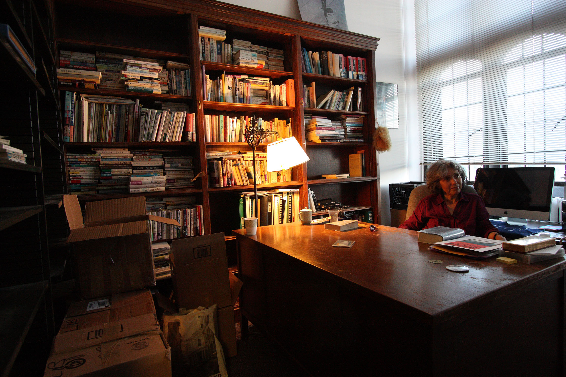 In her realm: Field packs up her office at the University of Chicago shortly before her retirement.