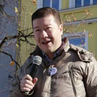 Riding wave of voter anger: Dawn of Direct Democracy leader Tomio Okamura addresses supporters at a campaign rally in Benešov, near Prague, on Oct. 19. | COURTESY OF DAWN OF DIRECT DEMOCRACY