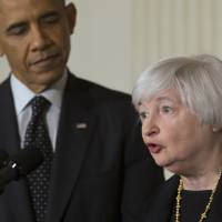 Bank on it: Janet Yellen, U.S. President Barack Obama's nominee as chairwoman of the Federal Reserve, addresses the media during a Wednesday nomination announcement in the State Dining Room at the While House. | BLOOMBERG