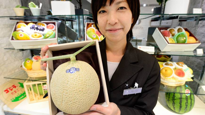 Bearing fruit: Miyuki Kaida, who works at the Sun Fruits luxury fruit store in Tokyo Midtown, shows a high-quality melon Sept. 17.