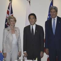 Concerned parties: Foreign Minister Fumio Kishida poses with U.S. Secretary of State John Kerry (right) and Australian Foreign Minister Julie Bishop before their trilateral talks Friday on the margins of an APEC ministerial meeting in Nusa Dua, Indonesia. | AFP-JIJI