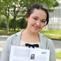 Found in translation: Aminova Nodira, an Uzbek who translated 'Kokoro' by Natsume Soseki, shows the monthly journal carrying her work. | KYODO
