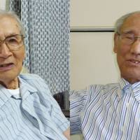 Secret operators: Nobuo Igarashi (left) and Enji Ota, former workers at Army Noborito Laboratory, speak of their wartime memories in separate interviews. | KYODO