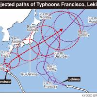 Big typhoons may collide off Honshu