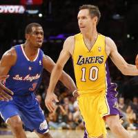 Surprise result: The Lakers' Steve Nash looks to pass as the Clippers' Chris Paul defends on Tuesday night at Staples Center | AP