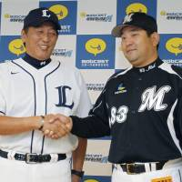 Stakes are high: Seibu Lions manager Hisanobu Watanabe (left) and Chiba Lotte Marines skipper Tsutomu Ito lead their teams into the first stage of the Pacific League Climax Series, which begins on Saturday at Seibu Dome. | KYODO