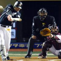 Big blast: The Marines' Craig Brazell belts a solo home run in the  10th inning against the Eagles on Friday in Game 2 of the Pacific League  Climax Series Final Stage at Kleenex Stadium. Chiba Lotte won 4-2 in 10  innings. | KYODO
