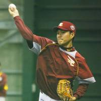 Work duty: Tohoku Rakuten Golden Eagles rookie Takahiro Norimoto, a 15-game winner during the regular season, got the nod to start the Japan Series opener. | KYODO