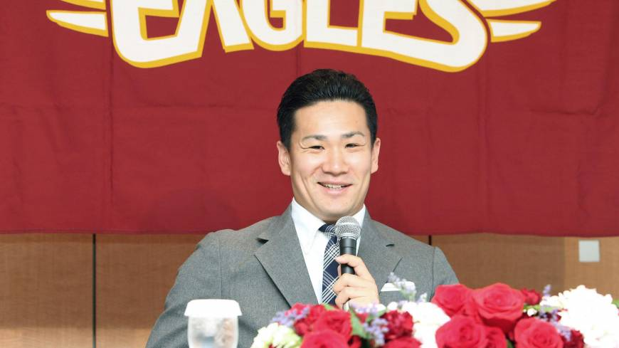 Ray of sunshine: Masahiro Tanaka, speaking at a news conference on Monday, has brought smiles to Tohoku and helped carry the Golden Eagles to their first Japan Series this season.