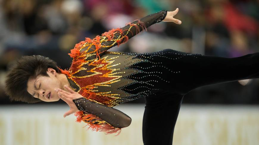 Hot stuff: Tatsuki Machida performs his free skate routine at Skate America in Detroit on Saturday. Machida won the event.