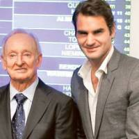Giants of the game: Rod Laver, seen here with Roger Federer at the recent Shanghai Rolex Masters, considers the Swiss the greatest player in the history of men's tennis. | AP