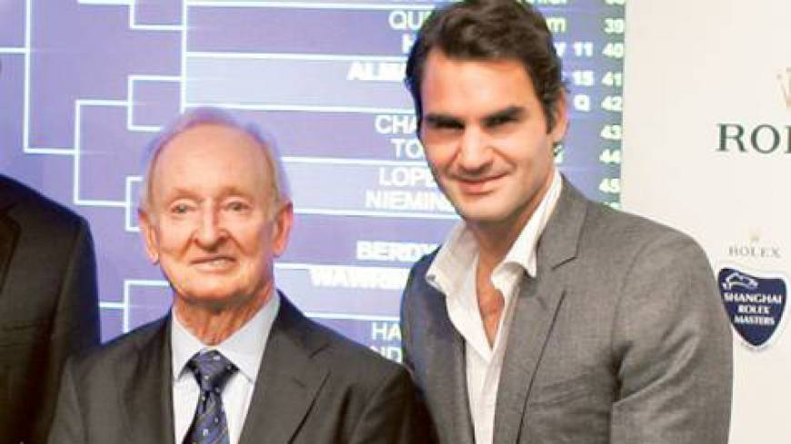 Giants of the game: Rod Laver, seen here with Roger Federer at the recent Shanghai Rolex Masters, considers the Swiss the greatest player in the history of men's tennis.