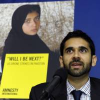 Collateral claims: Mustafa Qadri, a Pakistan researcher at Amnesty International, speaks Tuesday in Washington about the findings of two new reports by his group and Human Rights Watch on U.S. drone strikes and other airstrikes in Pakistan and Yemen | AP