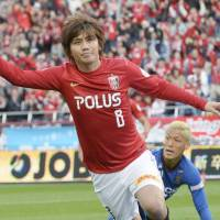 Banner day: Yosuke Kashiwagi of the Urawa Reds scored twice in a 2-1 victory over Kashiwa Reysol on Sunday | KYODO