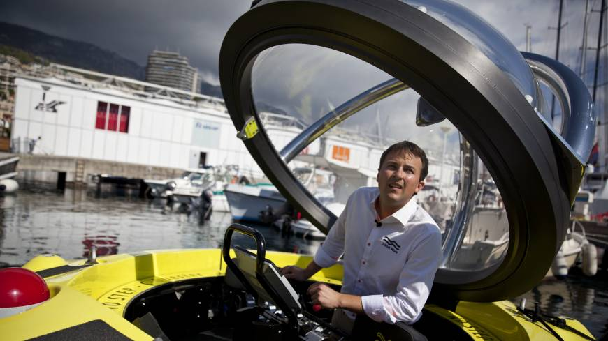 Water world: Erik Hasselman, commercial director of U-Boat  Worx, stands inside a C-Quester 3 submarine during the Monaco Yacht Show on Sept. 25.