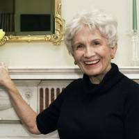 Latter-day Chekhov: Author Alice Munro, who on  Thursday won this year's Nobel Prize in literature, poses at the Canadian Consulate in New  York in October 2002. | AP