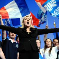 Taking center stage: Marine Le Pen has worked hard to dispel the image of the party as fundamentally racist. | AFP-JIJI