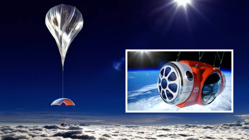 This artist's rendering shows the tourist capsule (inset) planned by World View Enterprises that would be carried by balloon to an altitude of 98,000 feet, from where passengers, paying $75,000, could see the Earth's curvature below and the black of space above.
