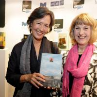 "Every Man Booker Prize shortlisted author receives an original handmade book, and Angela James (right), made the special edition of ""A Tale for the Time Being"" given to Ruth Ozeki (left). 