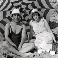 A rare blend: Masataka Taketsuru and his wife, Rita (nee Rita Cowan), bask in the warmth of togetherness on a beach in Japan in the 1930s.  | COURTESY OF NIKKA WHISKY / ASAHI BREWERIES