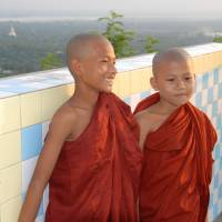 A photo of young monks, taken in Myanmar, whose first cultural festival is being held in Tokyo this weekend.