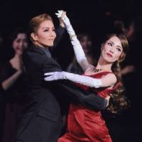 Role reversals: Kazuho So as Hailey, the salaryman dances with Seina Sagiri in the role of Ella for 'Shall we dance?' Though Sagiri is known for playing male roles in Takarazuka, in an unsual move, she takes on the female lead this time. | © TAKARAZUKA REVUE COMPANY