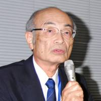 Dubious drug: Shiga University of Medical Science President Tadao Banba attends a press conference Thursday and said the university's in-house investigation committee found that a clinical study on Novartis Phama K.K.'s Diovan contained doubtful data. | KYODO
