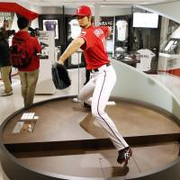 Bearing down: A life-size figure of baseball star Yu Darvish is one of the major items on show at the Space 11 Darvish Museum that opened Monday in Kobe. | KYODO