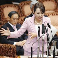 Tough sell: Masako Mori, state minister for the state secrecy bill, responds to a question during an Upper House committee session on Friday. | KYODO
