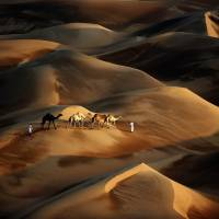 Trackless sands: Tribesmen cross the Liwa Desert, over 200 km southwest of Abu Dhabi, on Saturday. At U.N. climate talks in Warsaw, negotiators adopted a 'loss and damage mechanism' to aid countries threatened by extreme climate calamities. | AFP-JIJI