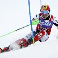 Dashing through the snow: Marcel Hirscher competes in the men's World Cup slalom on Sunday in Levi, Finland. | AP
