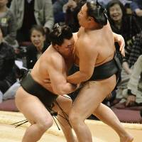 Brute force: Harumafuji (left) forces Kyokutenho out of the raised ring on Tuesday at the Kyushu Grand Sumo Tournament | KYODO