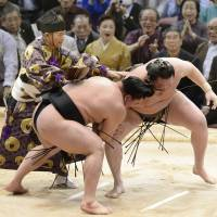 Break it up: The referee stops Sunday's decisive bout between Harumafuji (left) and Hakuho at the Kyushu Grand Sumo Tournament after ruling that Hakuho had touched his foot down outside the ring. Harumafuji won the tournament for his sixth career title. | KYODO