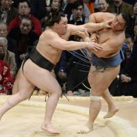 Positive attitude: Harumafuji (left) goes on the attack against Homasho at the Kyushu Grand Sumo Tournament on Sunday | KYODO