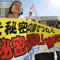 Spelling it out: People opposed to the state secrets bill hold a protest banner at a rally in Tokyo's Yurakucho district Tuesday. | KYODO