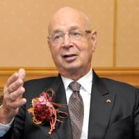 Let's talk: Klaus Schwab, founder and executive chairman of the World Economic Forum, speaks during an interview at a Tokyo hotel on Nov. 6. | YOSHIAKI MIURA