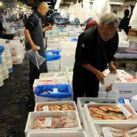 Still squirming: Boxes of freshly caught marine creatures are displayed at the Tsukiji fish market in Tokyo last month | SATOKO KAWASAKI