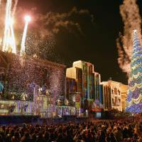 Holiday spectacle: Christmas illuminations earlier this month add a seasonal twist to Universal Studios Japan in the city of Osaka. | KYODO