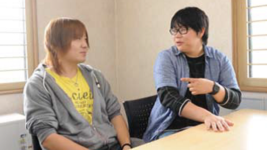 Wataru Okawara (right) and Shingo Kamide are interviewed in May in Hokkaido.