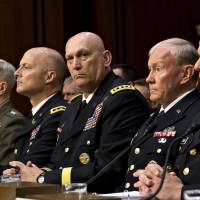 Big decisions: Military leaders, including U.S. Army Chief of Staff Gen. Ray Odierno (third from right), testify June 4 at a Senate Armed Services Committee hearing about whether a drastic overhaul of the military justice system is needed. | AP